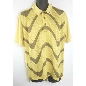 OAKLEY Yellow 1/4 Bottons Short Sleeves Logo Men M
